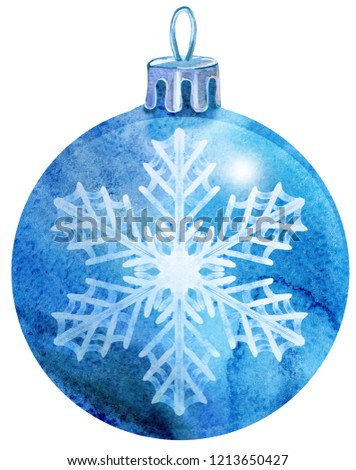 Stock photo: Watercolor blue Christmas ball with snowlake isolated on a white background.
