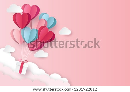 Happy valentines day invitation card template with origami paper hot air balloon in heart shape. Pin Stock photo © olehsvetiukha