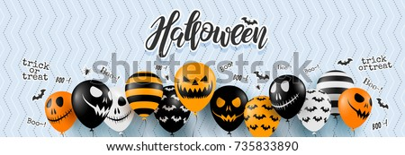 Halloween Party flyer vector illustration with scary faced pumpkin on orange background. Holiday des Stock photo © articular