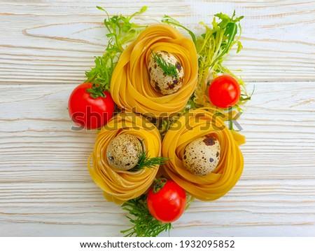 Taze organik ev yapımı spagetti makarna yumurta Stok fotoğraf © DenisMArt