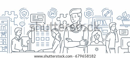 technical support   modern line design style vector illustration stock photo © decorwithme