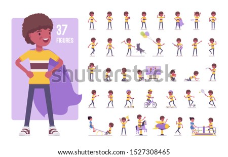 Boy Schoolboy Kid Poses Set Vector. Black. Afro American. Primary School Child. Educational, Study.  Stock photo © pikepicture