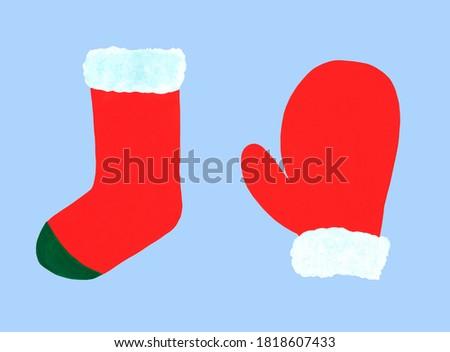 Navidad verde calcetín blanco piel regalos Foto stock © Natalia_1947