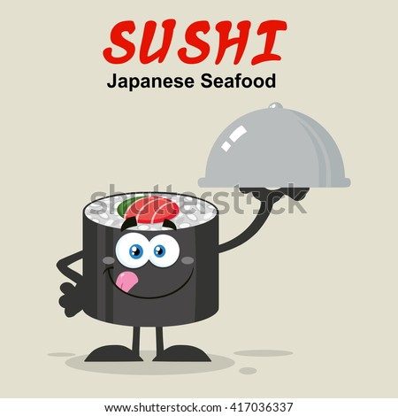 Sushi Roll Cartoon Mascot Character Licking His Lips And Holding A Cloche Platter  Stock photo © hittoon
