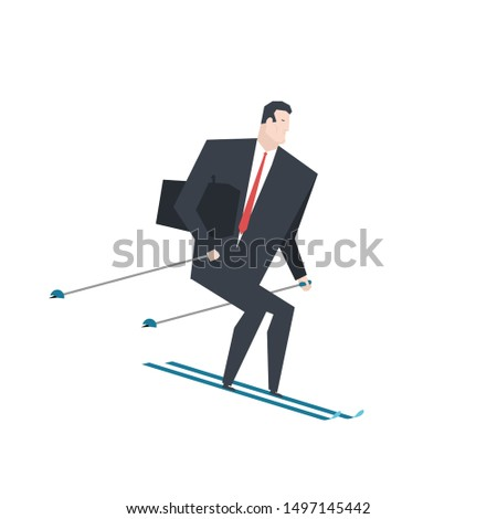 Businessman on skis. Boss is rolling down mountain. Office life  Stock photo © MaryValery