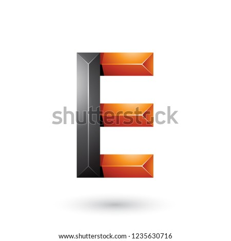 Black and Orange Pyramid Like Geometrical Letter E Vector Illust Stock photo © cidepix