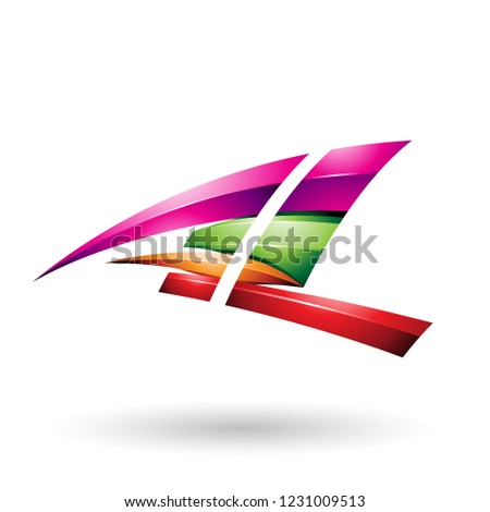 Magenta and Green Dynamic Glossy Flying Letter A Vector Illustra Stock photo © cidepix