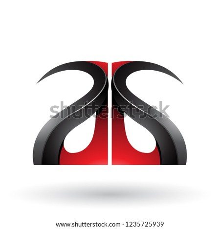 Red and Black Glossy Curvy Embossed Letter A Vector Illustration Stock photo © cidepix