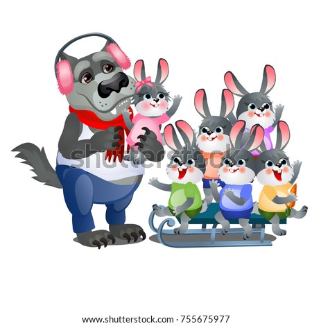 A set of animated happy little bunnies in clothes playing with wolf in pink headphones and sledding  Stock photo © Lady-Luck