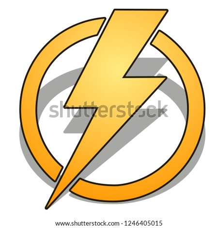 Yellow thunder in circle with shadow isolated on white background. Vector cartoon close-up illustrat Stock photo © Lady-Luck