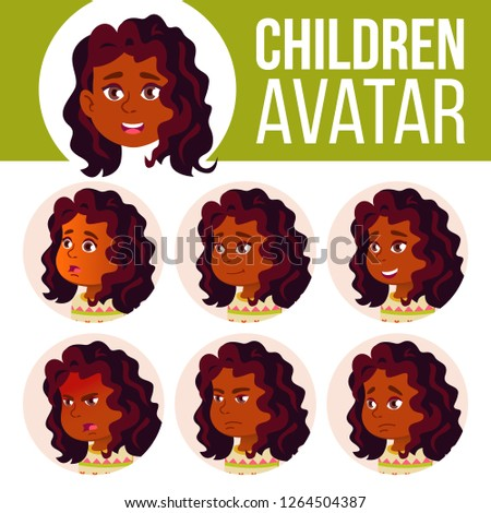 Indian Girl Avatar Set Kid Vector. High School. Hindu Face Emotions. Head, Icon. Happiness Cartoon H Stock photo © pikepicture
