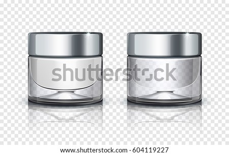 Cosmetic Glass Design Vector. Face Care. Facial Lotion. Spa, Makeup. Bottle. Jar. 3D Isolated Transp Stock photo © pikepicture