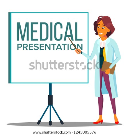 doctor woman in white coat near meeting projector screen medical presentation vector isolated cart stock photo © pikepicture