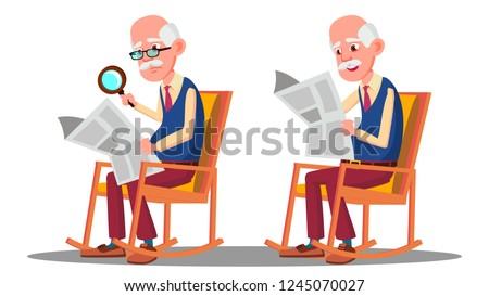 Visually Impaired Elderly Man Reading A Book Through A Magnifying Glass Vector. Isolated Cartoon Ill Stock photo © pikepicture