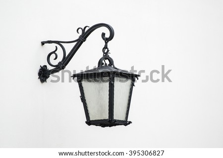 Outdoor hanging lantern in retro style isolated on a white background. Cartoon vector close-up illus Stock photo © Lady-Luck