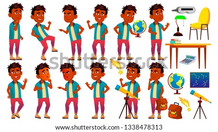 Indian Boy Schoolboy Poses Set Vector. Primary School Child. Happy Childhood. Abc. Friend, Stages. F Stock photo © pikepicture