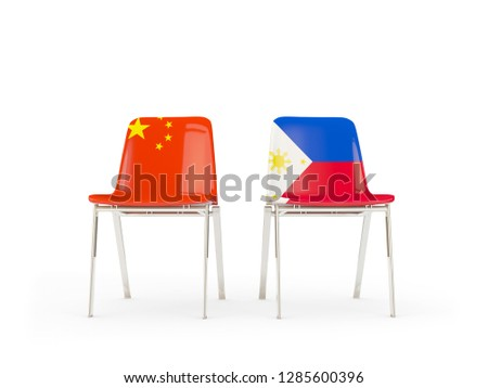 two chairs with flags of china and philippines isolated on white stock photo © mikhailmishchenko
