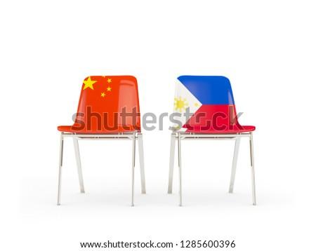Deux chaises drapeaux Chine Philippines isolé Photo stock © MikhailMishchenko