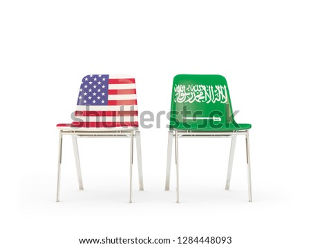 Two chairs with flags of US and saudi arabia isolated on white Stock photo © MikhailMishchenko