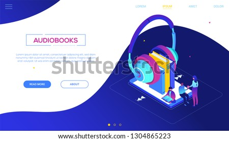 Stock photo: Listening to audiobooks - modern colorful isometric vector web banner