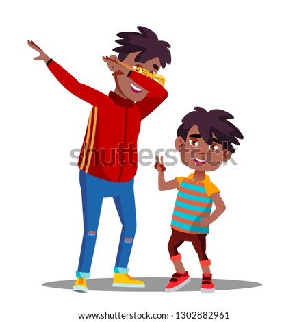 Two Little Afro American Boys With Dreadlocks Dancing To Music Vector. Isolated Illustration Stock photo © pikepicture