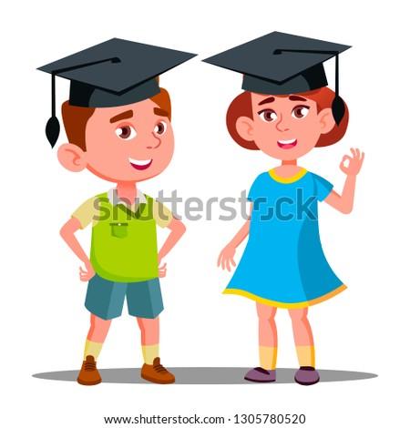 Stockfoto: Weinig · jongen · meisje · groot · afgestudeerde · cap