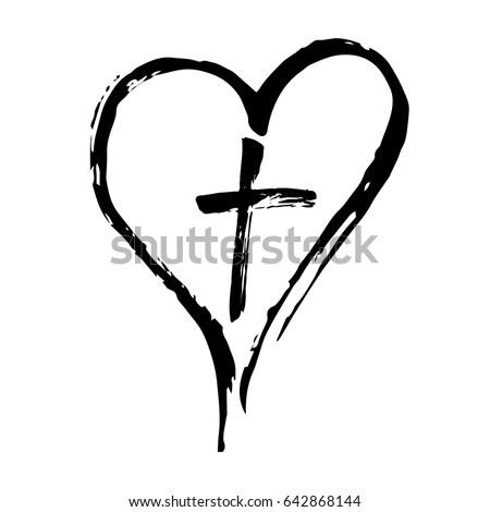 Hand drawn christian cross signs. Brush painted black icon. Vector illustration isolated on white ba Stock photo © kyryloff