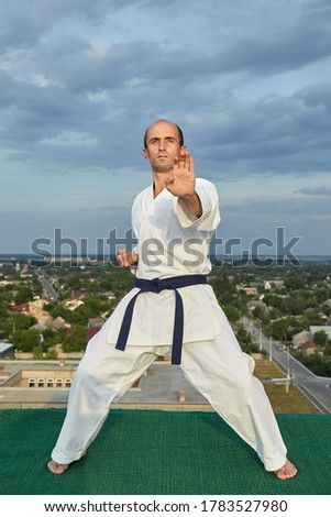 Stockfoto: Volwassen · atleet · formeel · karate · Blauw · man