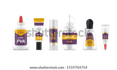 Glue Set Vector. Bottle, Tube, Stick. Super Fast Repair. Moment Gluing Fixing. Stationery Branding P Stock photo © pikepicture