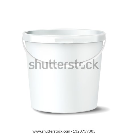 Plastic Bucket Vector. White Claen Empty Blank. Classic Jar With Handle For Paint. Container. Isolat Stock photo © pikepicture