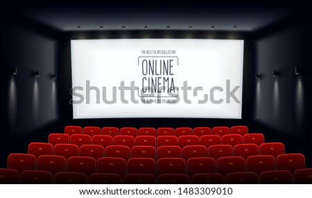Cinema hall with red seats, showtime, poster design with popcorn, 3d glasses, film tape, clapperboar Stock photo © MarySan