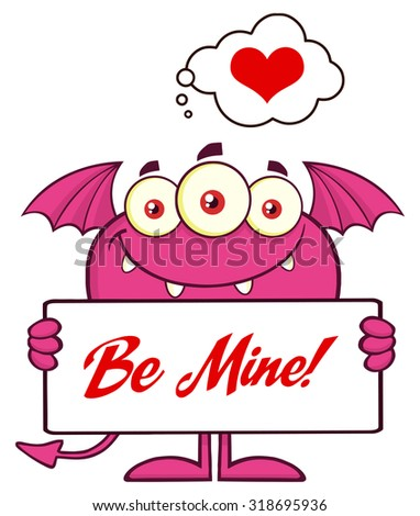 Smiling Pink Monster Cartoon Character Holding A Be Mine Sign Stock photo © hittoon