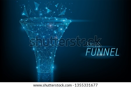 Sales funnel designed in 3D polygonal style,consisting of points, lines, and shapes on dark blue bac Stock photo © MarySan