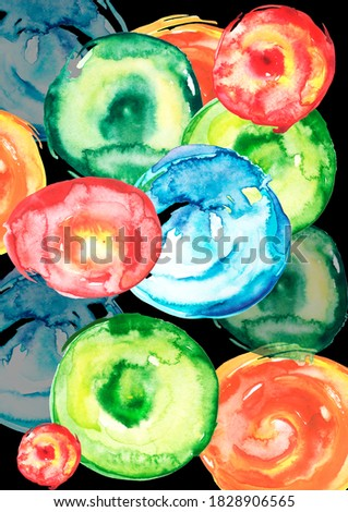 Banana and strawberry on blue background. Watercolor illustration Stock photo © ConceptCafe