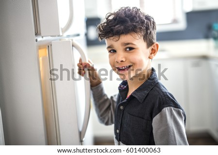 Young white boy standing in front of open refrigerator. Stock photo © Lopolo