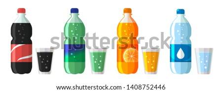 Conjunto plástico garrafa água doce soda Foto stock © MarySan