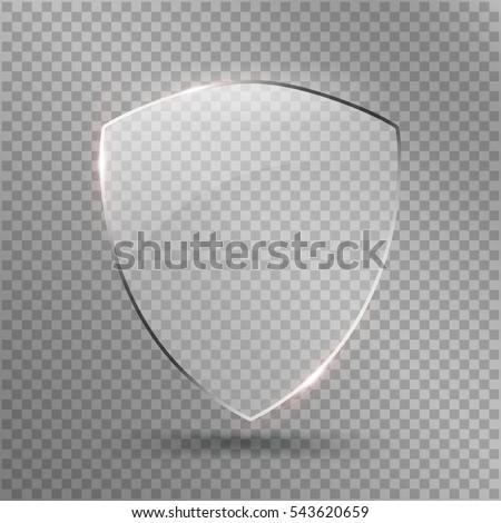 transparent · bouclier · sécurité · verre · badge · icône - photo stock © olehsvetiukha