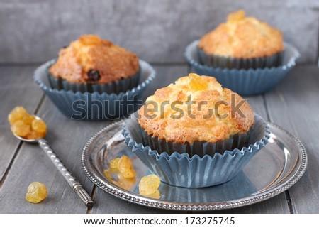 Muffins uvetta blu rustico legno salute Foto d'archivio © Melnyk
