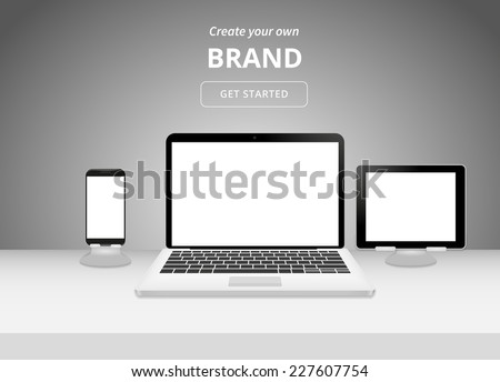 Realistisch laptop smartphone werkruimte Stockfoto © ikopylov