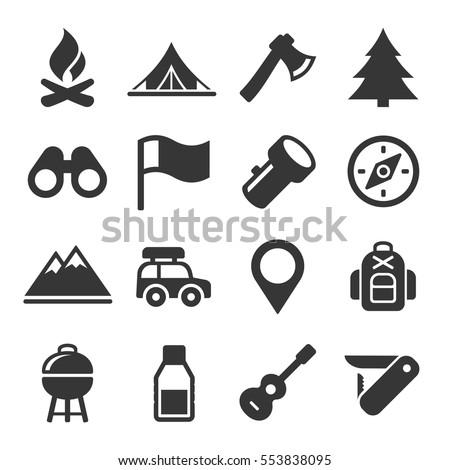 ingesteld · camping · iconen · vector · lang - stockfoto © jeksongraphics