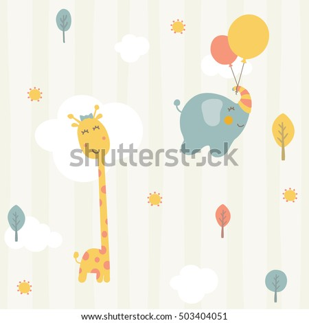 baby shower seamless pattern with cute elephant clouds butterfly flowers mushrooms stock photo © lemony