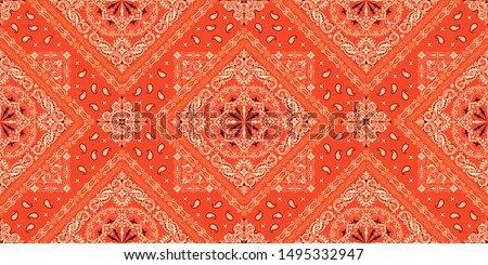 Vector ornament paisley Bandana Print. Silk neck scarf or kerchief square pattern design style, best Stock photo © sanyal