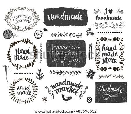 Hand Made hand drawn vector doodles illustration. Handmade poster design stock photo © balabolka