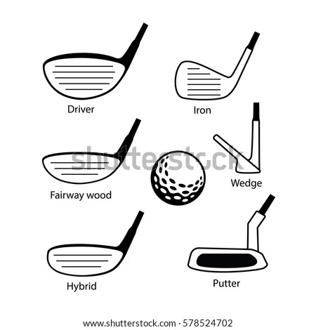 Golf Driver Wood, Iron Wedge, Putter and Ball on White Backgroun Stock photo © feverpitch