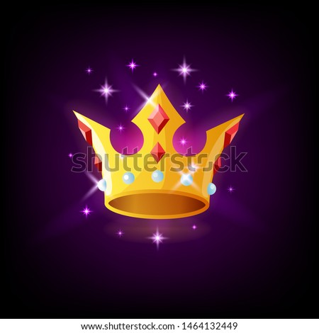 Gold crown with precious stones and sparkles, slot icon on dark purple background, casino concept, v Stock photo © MarySan