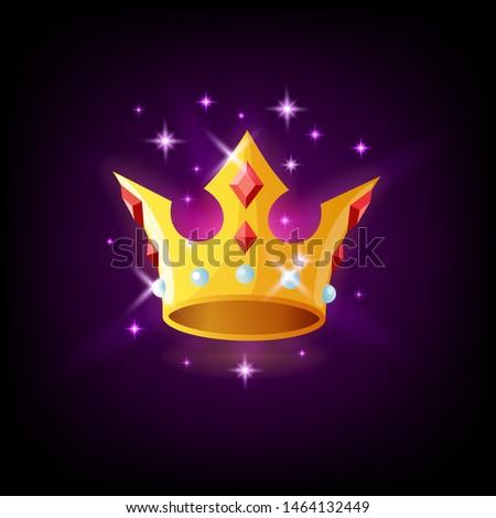 Złota korony cenny kamienie ikona Zdjęcia stock © MarySan
