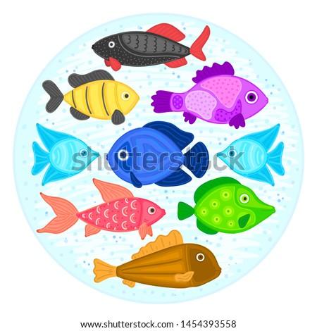 Vektor színes rajz hal körkörös forma Stock fotó © user_10144511