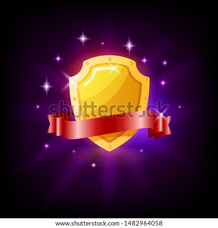 Gold shield and red ribbon slot icon for online casino or mobile game, vector illustration with spar Stock photo © MarySan