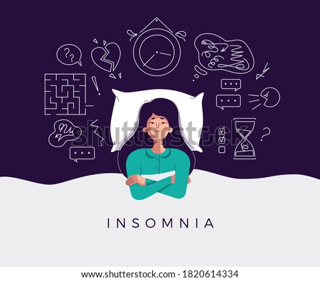 Young sleepy female with pillow suffering from insomnia or loud neighbors Stock photo © pressmaster