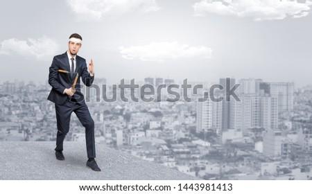 Karate férfi felső város fiatal edző Stock fotó © ra2studio